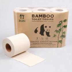 Bambusowy papier toaletowy, 6 szt. 3-warstwowy, 210 listków - ZUZii